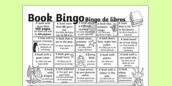 Book Bingo Activity Sheet Spanish Translation - spanish, reading, literacy, game, library, ks2, interaction, stories, worksheet