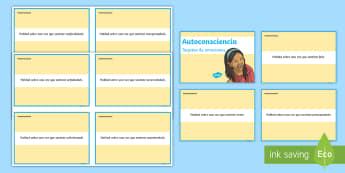 Tarjetas de preguntas: Autoconsciencia - Las emociones - Mindfulness, meditación, tarjetas, discusión, conversación, preguntas, emociones, sentimientos, a