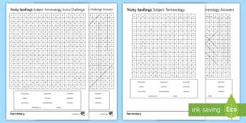 Tricky Spellings Subject Terminology Differentiated Word Search - SPAG, Spelling, Difficult words, common mistakes, terminology