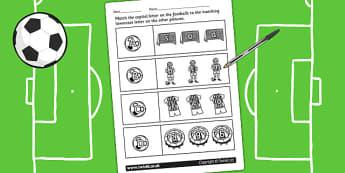 Football Themed Capital Letter Matching Worksheet - uppercase