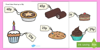 Cut-Out Priced Cakes Mixed up to 50p - money, activity, activities, game