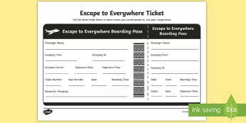 Australian Book Week- Escape to Everywhere Plane Ticket Activity Sheet -  plane ticket, book week, english, literacy,Australia