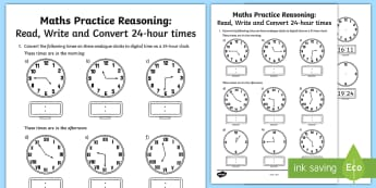 Read Write and Convert 24 hour Times Assessment Test - year 4, year 5, year 6, convert time, analogue, digital, 24 hour times, word problems, problem solvi