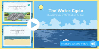 The Water Cycle Song PowerPoint - EYFS Water, water cycle, rain, rivers, sea, oceans, evaporation, condensation, vapor