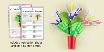 3D Handprint Flowers Craft Instructions - craft, instructions
