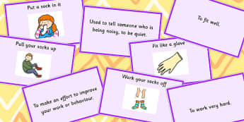 Clothes Idioms Matching Cards - Clothes, Idioms, Meaning, Cards