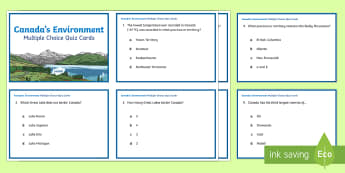 Canada's Environment Quiz Cards - Earth Day, Canada, lakes, provinces, territories, natural resources, forests, environment, social st
