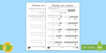 Fichas de actividad: Sumas a 10 con cuadros - enlaces numéricos, adición, sumar, mates, colorear, pintar,,Spanish