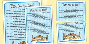 Ten in a Bed Nursery Rhyme Poster - rhymes, display, poems, song