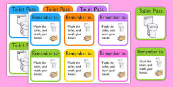 Toilet Passes - Toilet Pass, Toilet, Going to the toilet, Classroom Area Signs, toilet rules, toilet routine, toilets, boys, girls, Foundation Stage Area Signs, Classroom labels,  Area Signs, Classroom Areas, Poster, Display, Areas