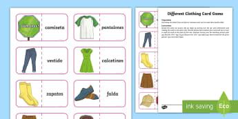 Different Clothing Card Game - English / Spanish - Inglés / Español-Scottish-translation - Spanish games, Spanish activities, Spanish clothes, Spanish clothing, Spanish dress, self-correcting