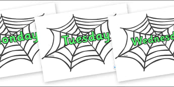 Days of the Week on Spiders Web - Days of the Week, Weeks poster, week, display, poster, frieze, Days, Day, Monday, Tuesday, Wednesday, Thursday, Friday, Saturday, Sunday