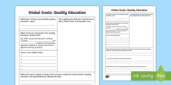 Global Goals Quality Education Fact File Research Activity - Learning For Sustainability, UNICEF, Inclusive Education, Education For All, Lifelong Learning,,Scot