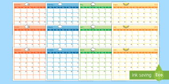 Academic Year Monthly Calendar Planning Template 2017-2018 - academic, year, monthly, calendar, planning template, plan, template, 2017, 2018