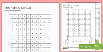 Carnival Differentiated Word Search - French, Carnival, Carnaval, France, Mardi Gras, déguisement, se déguiser, masque, tradition, défi
