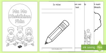 Cfe-A' Chiad Ire- Bileag-Mu Mo Dhèidhinn Fhìn - cfe, a' chiad ire, mu mo dhèidhinn fhìn, gaelic, all about me, first level, activity,booklet, bil