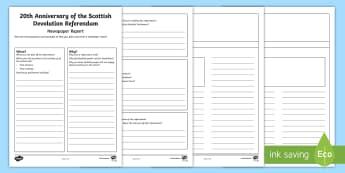 20th Anniversary of Scottish Devolution Referendum Newspaper Writing Template - Politics, Literacy, Second Level, Events, Parliament,Scottish