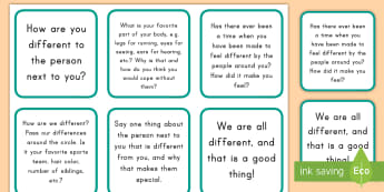 We Are All Different Circle Time Discussion Cards - cards, circle time, differences, bullying, sharing