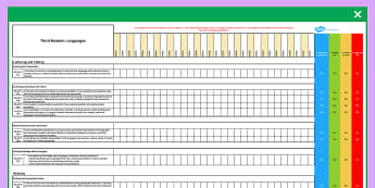 Scottish Curriculum for Excellence Third Modern Languages Assessment Spreadsheet-Scottish