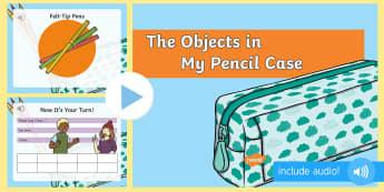 Obiectele din penarul meu în limba engleză PowerPoint  - pronunție în limba engleză, obiecte școlare, vocabular engleză, la școală,Romanian