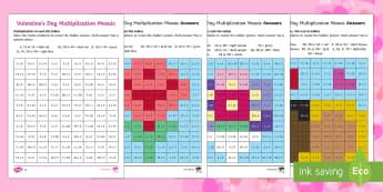 Valentine's Day Themed Multiplication Mosaics - Valentine's Day,  Feb 14th, love, cupid, hearts, valentine,