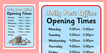 Jolly Post Office Role Play Opening Times to Support Teaching on The Jolly Postman - jolly, post, office, post office, opening, times, post office opening times, role, play, role play