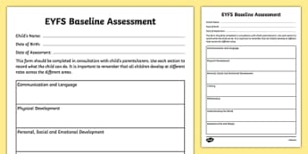 Childminder EYFS Baseline Assessment  - child minder, baseline, eyfs