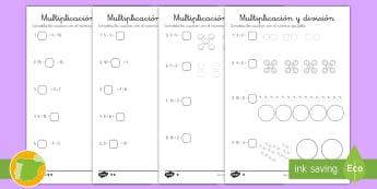 Fichas de actividad: Multiplicación y división - multiplicar, dividir, evaluar, rellena, completa, número que falta, número, cifras, cifra, digiro,
