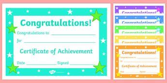 Editable Reward Certificates for Primary Classes - Certificates of Achievement