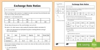 Exchange Rate Ratios Activity Sheet - Euro, dollar, pound, sterling, bureau de change, ratio, worksheet