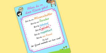 Wenn Du In Die Klasse Gehst Poster