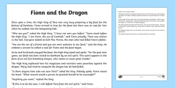 Fionn and the Dragon Printable Story Sheet - Irish history, Irish story, Irish myth, Irish legends, Fionn and the Dragon, printable story, story sheet