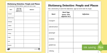 People and Places - Word Meanings Activity Sheet - People and Places, Geography, English, Word Meanings, dictionary, worksheet, Australia