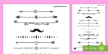 Bullet Journal Dividers Inspiration - Bullet Journal, bujo, diary, journal, borders, colouring, doodles, dividiers