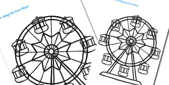 Large Seaside Themed Ferris Wheel Colouring Template - seaside, seaside colouring sheets, large seaside colouring sheets, ferris wheel colouring template