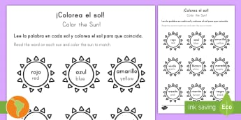 Color the Sun Activity Sheet Spanish (Latin)/US English - Summer, summer season, first day of summer, summer vacation, worksheet, summertime, sun, color words