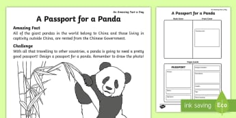 A Passport for a Panda Activity Sheet - Amazing Fact Of The Day, amazing fact a day april, activity sheets, powerpoint, worksheet, starter,