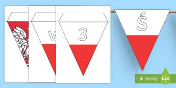 Girlanda Święto Konstytucji 3 maja - biel, czerwień, maj, maja, majowe, trzeci, orzeł, orzełek, flaga, biało-czerwona, biało-czerwon
