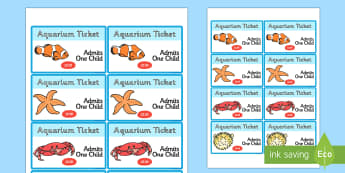 The Aquarium Role Play Tickets - aquarium, role, play, role play, tickets, aquarium tickets, role play tickets, tickets to aquarium, aquarium role play