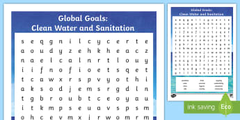 Global Goals Clean Water and Sanitation Word Search - Learning For Sustainability, UNICEF, wastewater, GG6, hygiene,,Scottish