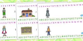 Hansel and Gretel Combined Number and Alphabet Strips - alphabet