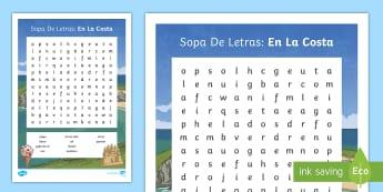 Seaside Topic Word Search  - Seaside, Coast, Summer, Holidays, Beach, Sea, Topic, Spanish, KS2, word, search, worksheet, activity