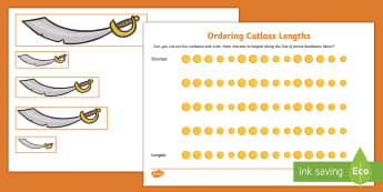 Ordering Cutlass Lengths Activity Pack - ordering, length, pirates, mor ladron, pirate, cutlass, measurement,Welsh