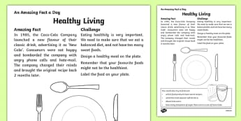 Healthy Living Activity Sheet, worksheet