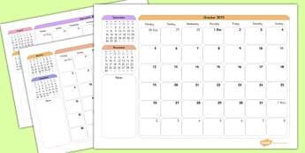Academic Year Calendar September 2015 to August 2016
