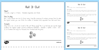 Roll It Out Number Forms Game - US Resources, Common Core, Teamwork, Word Form, Expanded Form, Standard Form, Game, Number and Operations in Base Ten, NBT, 2nd, 3rd, 4th, 5th