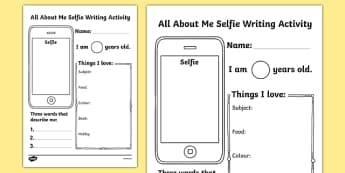 All About Me Selfie Writing Worksheet - Start of the School Year Activity