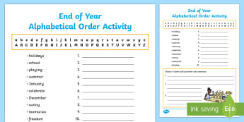 End of Year Alphabetical Order Activity Sheet