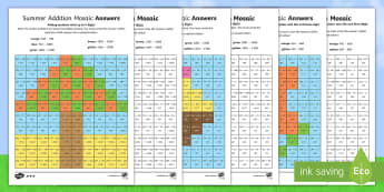 LKS2 Summer Addition Mosaic Differentiated Activity Sheets - mental arithmetic, calculation, formal written methods, Year 3, Year 4, worksheets