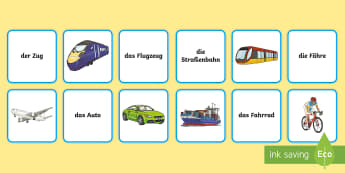 Transport and Travel Matching Cards German - Travel, Transport, German, languages, MFL, Germany
